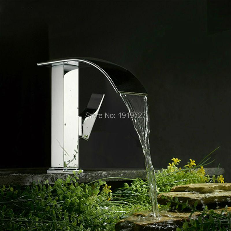 цена на Bathroom Sink Basin Mixer Tap Chrome Brass Square Glass Waterfall Faucet Torneiras Banho E Cozinha Bath