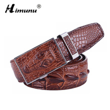 New Men s Genuine Leather Belt Fashion Luxury Alligator Automatic Buckle 100 Cowhide Leather Belts For