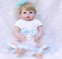 22 inches Doll Reborn Full Silicone Bebe Girl Blue Eyes Child Birthday Gift Realistic Adorable Babies Born Dolls