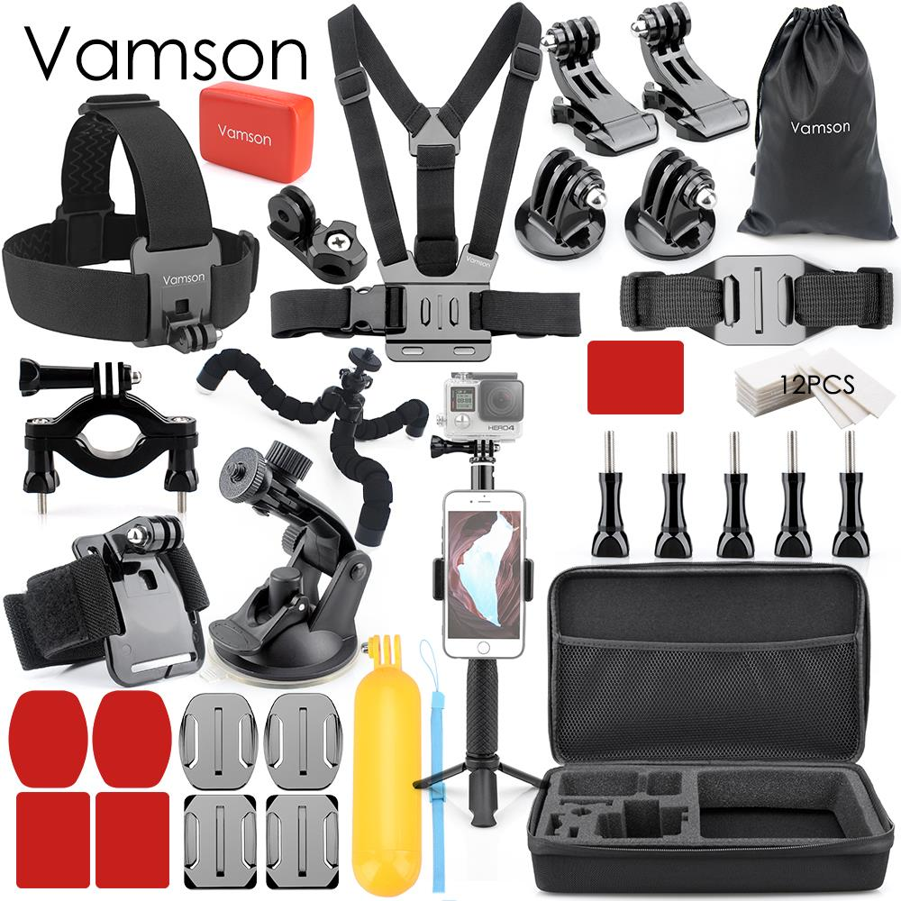 Vamson Accessories for Gopro hero 6 5 Set for go pro hero 7 4 3 2 set mount Black for SJCAM M10 for SJ4000 VS74