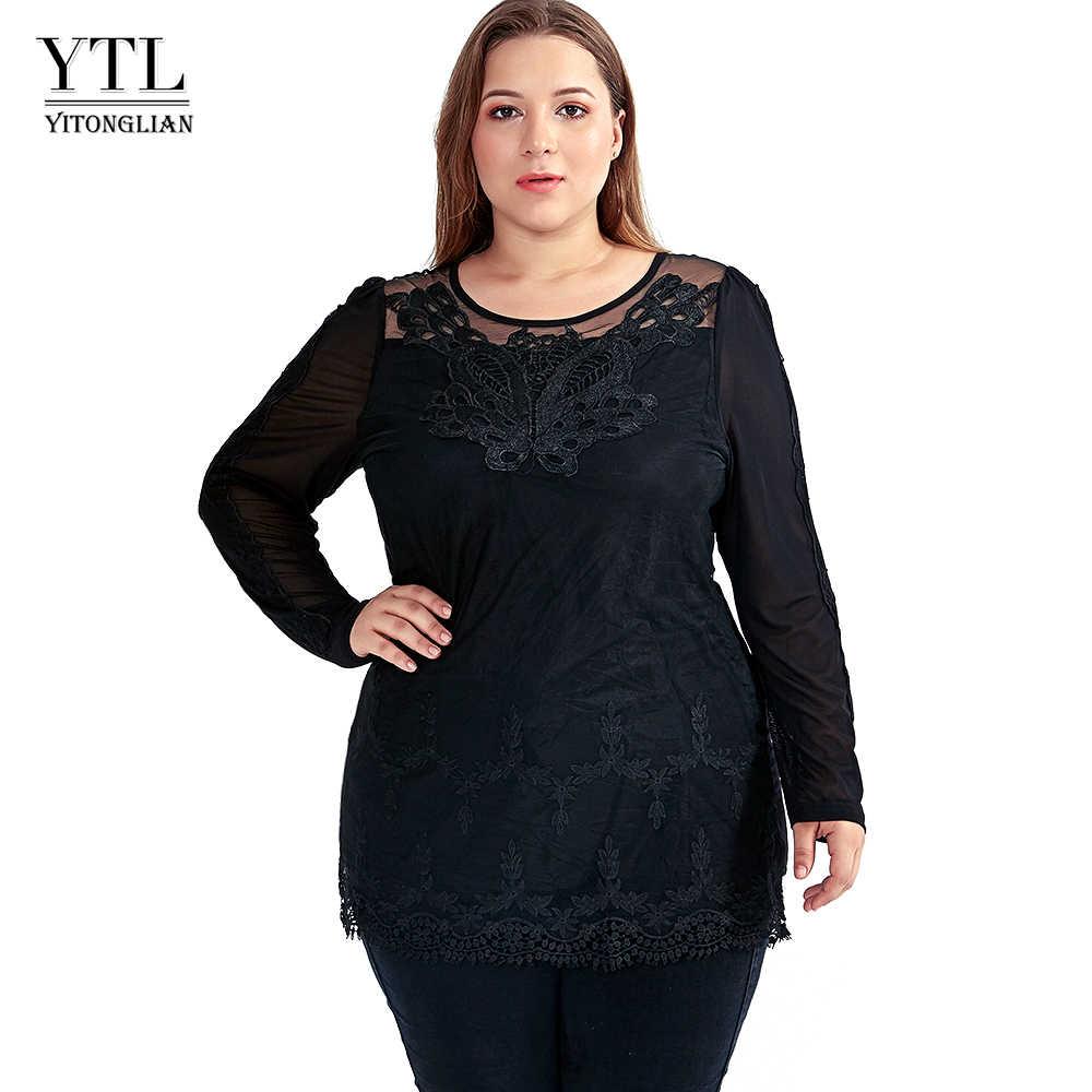 YTL женские топы, Осенние Топы с длинным рукавом размера плюс, белый кружевной топ с o-образным вырезом, тонкие туники, женские элегантные блузки, рубашка 4XL 5XL 6XL S002