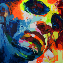 hand painted Large Size painting art On Canvas Oil Paintings Francoise Nielly Knife Colorful man Face Figure Wall Art