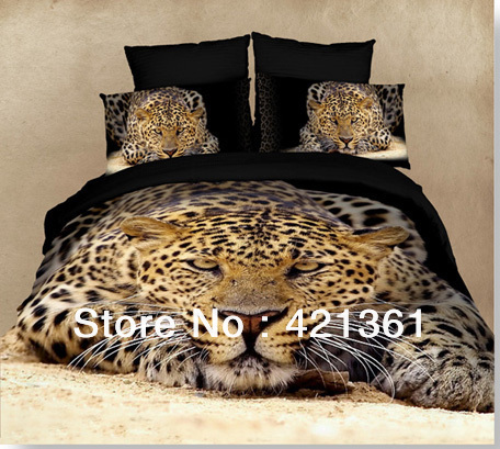 3d King Queen Cheetah Panther Leopard Bedding 4pcs Oil Painting Kids 100%  Cotton Bed Set Sheet Duvet Cover Pillowcases In Bedding Sets From Home U0026  Garden On ...