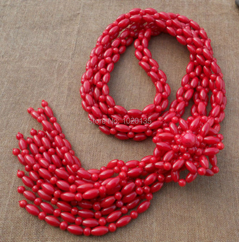 red coral flower round 4mm handmade necklace 36inch wholesale beads nature gift discount FPPJ - Click Image to Close