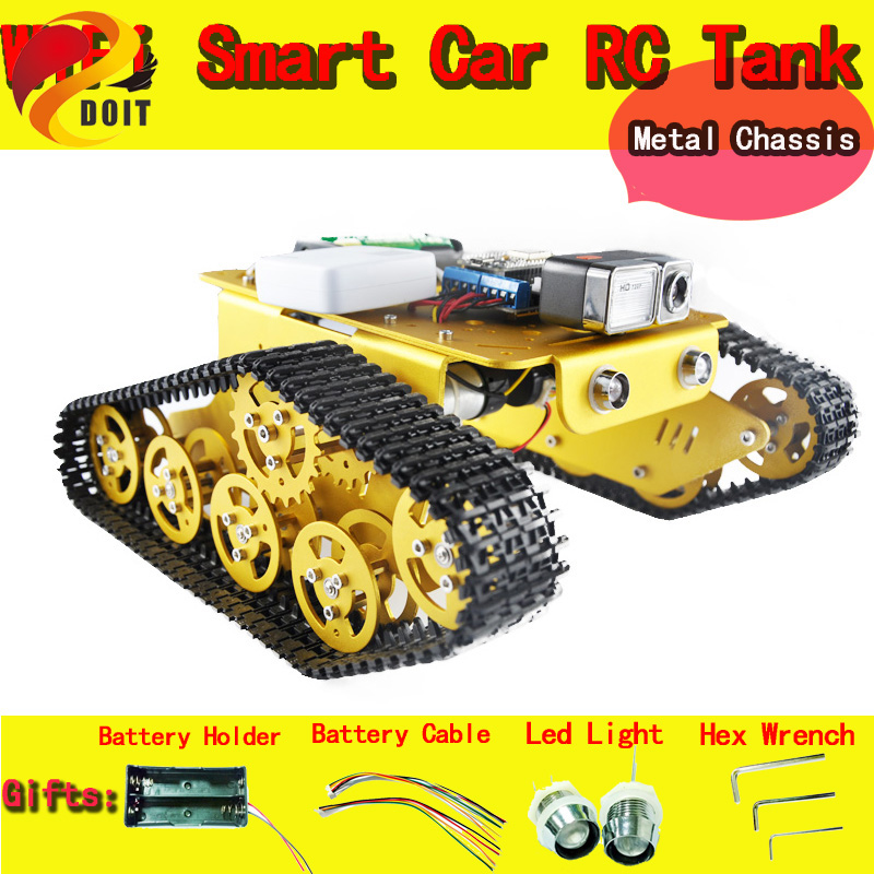 DOIT WiFi Video Robot Tank Car Chassis Remote Control by Android/ios APP RC Tank T300 from NodeMCU ESP8266 Kit Camera RC DIY Toy doit rc t300 metal wall e tank chassis