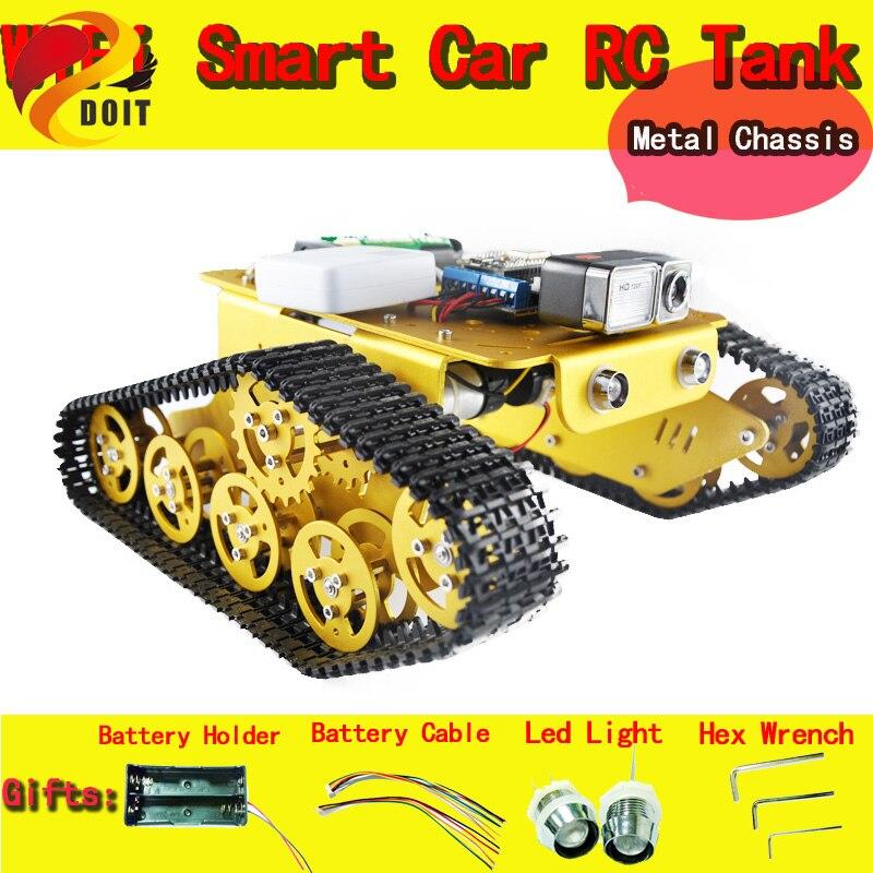 DOIT WiFi vidéo Robot réservoir voiture châssis télécommande par Android/ios APP RC réservoir T300 de NodeMCU ESP8266 Kit caméra RC bricolage jouet