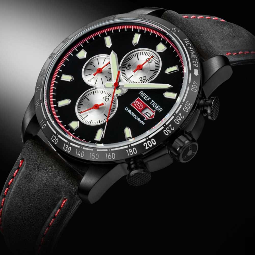リーフ虎/rt 男性のための時計と日付と発光マーカー RGA3029