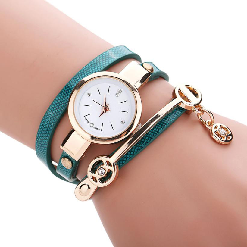 Hot 2017 New Fashion Superior New Hot Selling Women High QualityMetal Faux Leather Strap Lady Wrist Watch June 1Levert Dropship