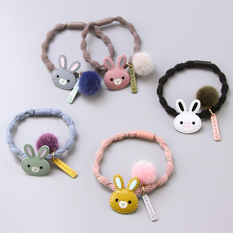 Girls Cute Cartoon Alloy Rabbit Ball Elastic Hair Bands Hair Ornament Hair Ropes Rubber Band Headbands Children Hair Accessories 12pc set elastic hair rubber band children hair unicorn headband kids hair accessories gril hair band set cute unicorn cartoon