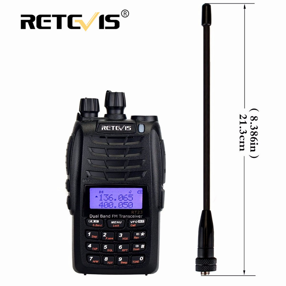 Retevis RT23 Dual Menerima Walkie Talkie Dual PTT 5W 128CH VHF UHF Dual Band 1750Hz DTMF Scan FM Radio Cross-Band Fungsi Repeater
