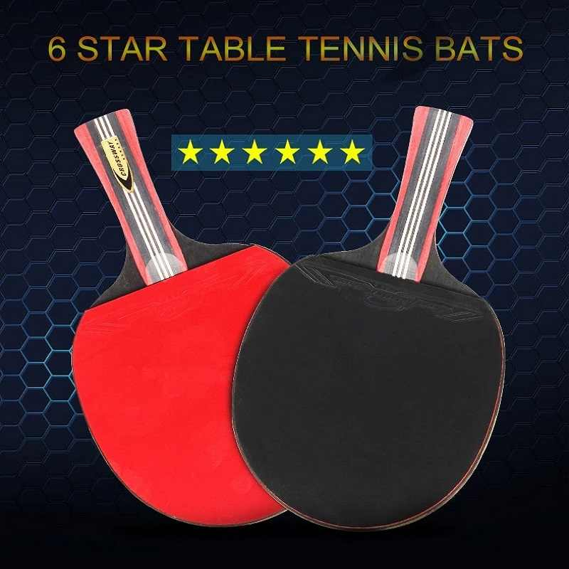 Short handle table tennis racket 2019 Best Sellers 6 Stars rackets table tennis Sticky Pimples-in Rubber  Ping Pong Racket