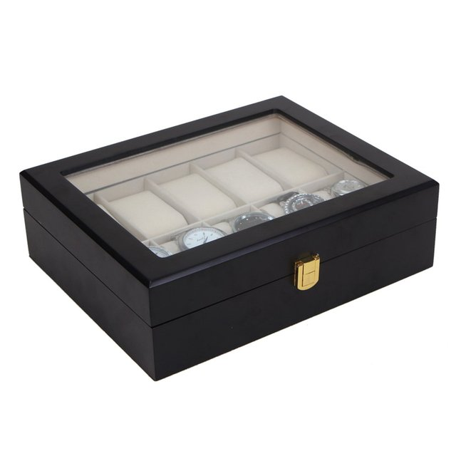 10 Grids Slots Black Wood Watch Box Storage Organizer Case Saat
