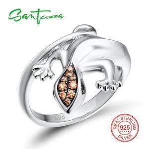 Image 3 - SANTUZZA Conjunto de joyería de plata de ley 925 con forma de lagarto, anillo y pendientes de color champán con zirconia cúbica, para mujeres