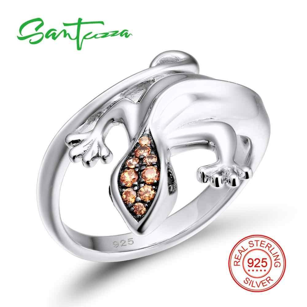 SANTUZZA เงิน Lizard ชุดเครื่องประดับสำหรับผู้หญิง 925 แหวนเงินแท้ต่างหูจี้ชุดปาร์ตี้แฟชั่นเครื่องประดับ