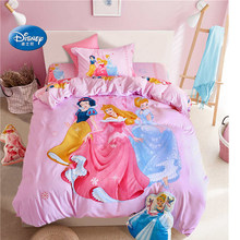 Snow White Princess 3D Bedding Set Children's Girls Kid Flat Sheet Bed Cover Woven Bedroom Decor Duvet Cover Set(China)