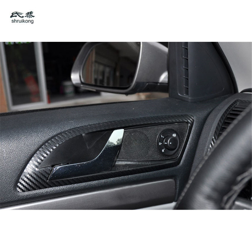 4pcs/lot Carbon Fiber Car Stickers Of Inner Door Shake Handshandle For 2007-2013 Skoda Octavia A5 1Z3