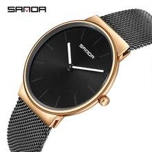 SANDA Fashion Quartz Watch Men Ultra Thin Dial Stainless Steel Mesh Strap Mens Watches Top Brand Luxury Relogio Masculino Gift