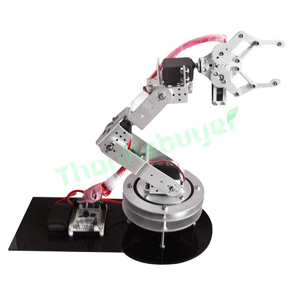 Aluminium 6 DOF Robotic Robot Arm Clamp Claw Mount Kit with 6PCS MG996R Servo & Servo Horn -Silver 3 dof metal robotic claw gripper robot mechanical claw compatible with ld 1501mg digital servo ldx 335 single axis digital servo