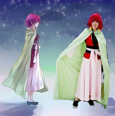 Anime chaud Yona de l'aube Akatsuki no Yona Cosplay ensemble complet robe avec Costume + Cape cadeau boucles d'oreilles
