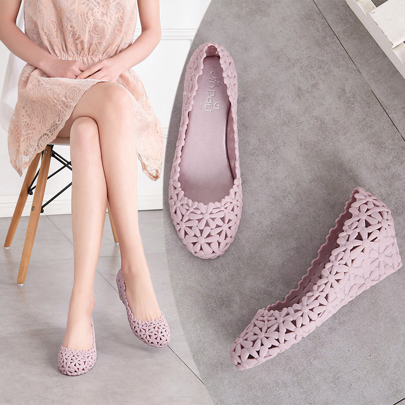 Image 4 - Women New Summer Breathable Hollow Casual Lace up Rubber High Heel Shallow Cover Heel Wedges Flower Jelly Shoes Sandals 20180914High Heels   -