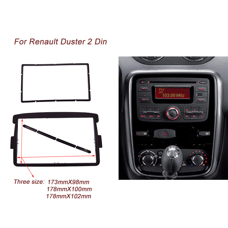 2 DIN Car Frame Panel Fascia for Renault Duster 2012 Adapter CD Trim Panel Stereo Interface