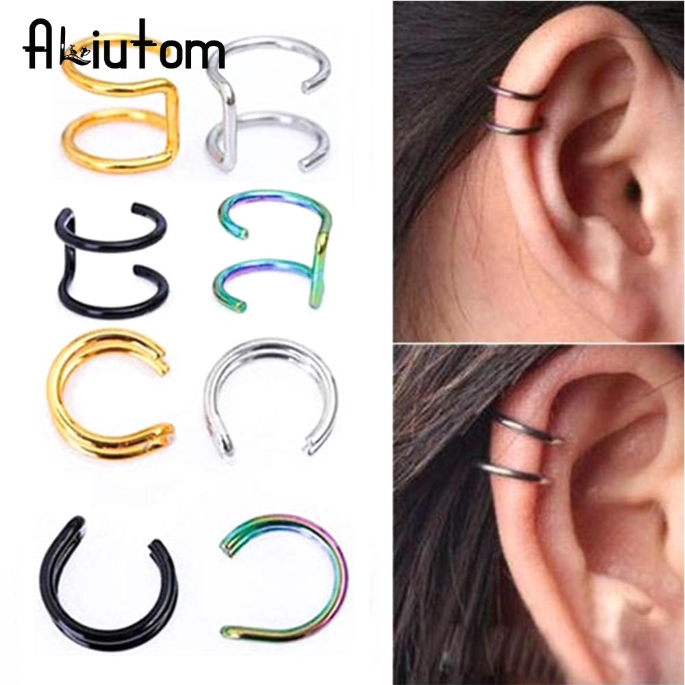 ALIUTOM 1 Pc New Punk Rock Ear Clip Cuff Wrap Earrings No Piercing-Clip Hollow Out U Pattern Statement Jewelry Unisex 4 Colors