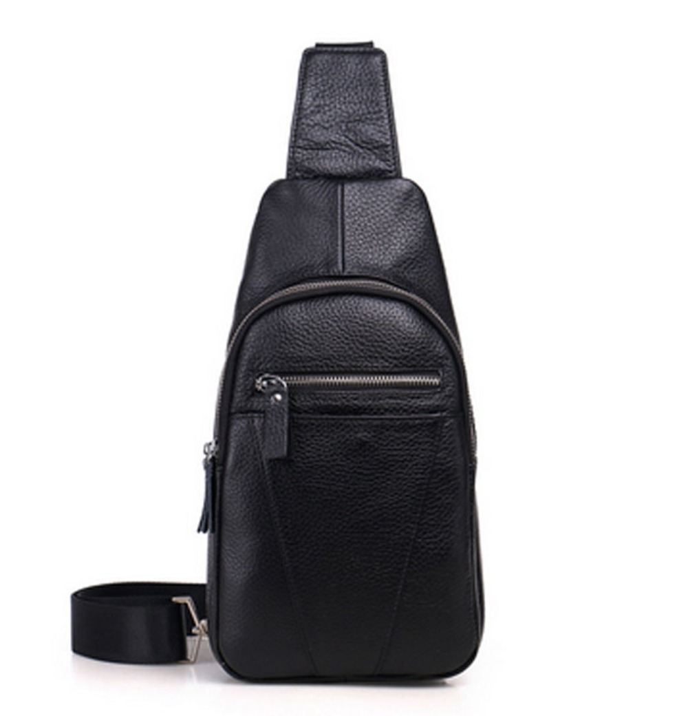 High Quality Men fashion Genuine Leather Cowhide Sling Chest Pack Travel Climb Messenger Shoulder Cross Body Bag high quality men genuine leather cowhide messenger shoulder bag cross body casual fashion travel sling chest pack