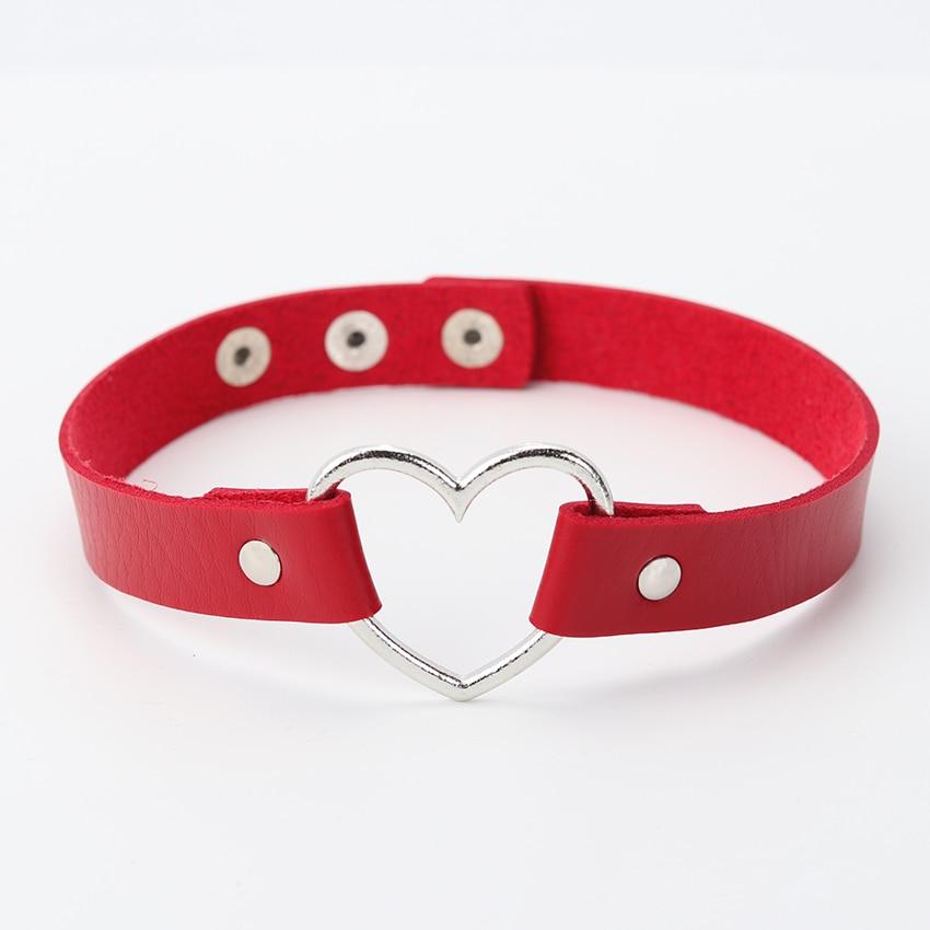 Горячее предложение, колье из искусственной кожи в стиле панк с сердечками и заклепками, ожерелье-ошейник с пряжкой, подарок для женщин, ювелирные изделия - Окраска металла: red