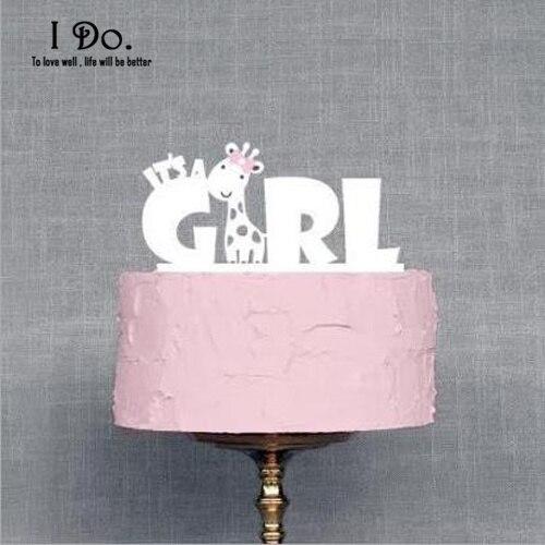 Doprava zdarma Akrylová dívka Narozeninový dort Topper Narozeninový večírek dekorace Dětská Baby sprcha doplňky