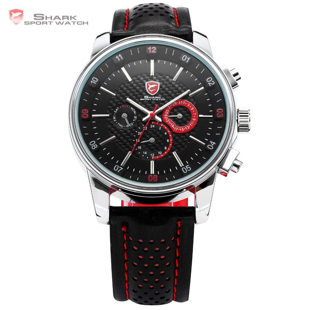 6884d890ccc Pacific Angel SHARK Sport Watch Luxury Calendar Quartz Men Male Watches  Fashion Red Black Leather Band
