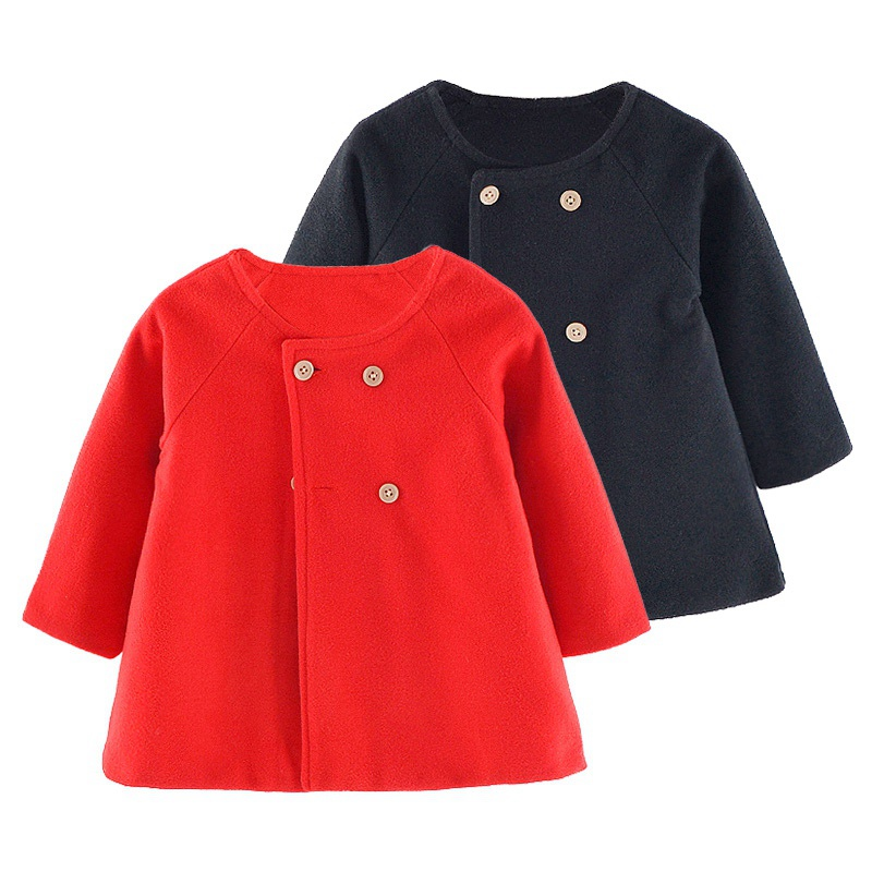 Autumn Baby Girl Coat Button Design Cute Solid Princess Wool & Blends Coat Toddler Casual Outerwear New