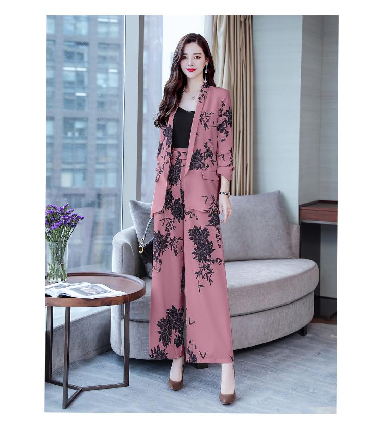 YASUGUOJI New 2019 Spring Fashion Floral Print Pants Suits Elegant Woman Wide-leg Trouser Suits Set 2 Pieces Pantsuit Women 32