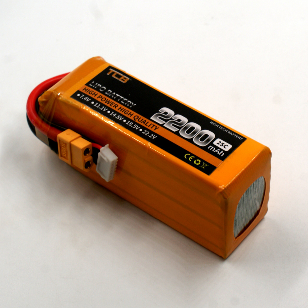 TCB RC lipo battery 22.2v 2200mAh 25C 6s RC airplane batteria rechargeable AKKU drone car free shipping mos rc airplane lipo battery 3s 11 1v 5200mah 40c for quadrotor rc boat rc car