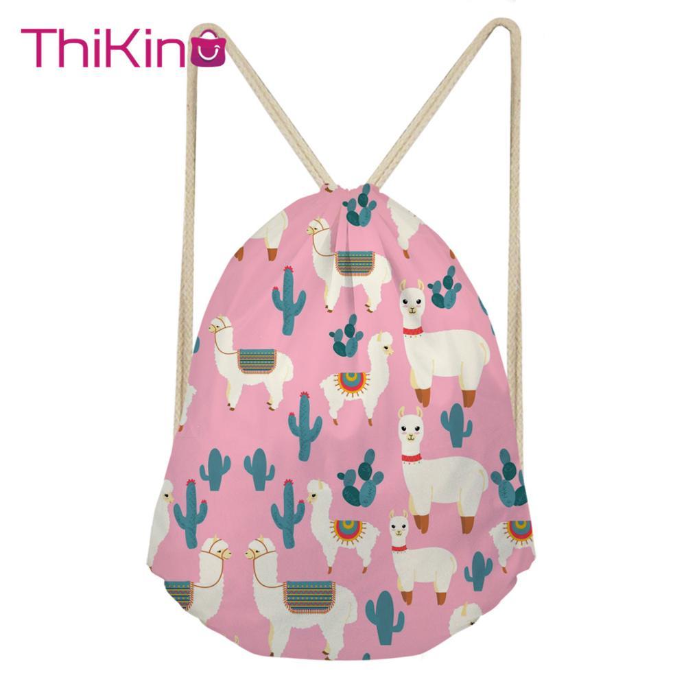 Thikin Alpaca Pattern Casual Sack Drawstring Bag for Women Travel Backpack Toddler Softback Lady Beach Mochila