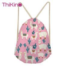Thikin Alpaca Pattern Casual Sack Drawstring Bag for Women Travel Backpack Toddler Softback Lady Beach Mochila DrawString Bag