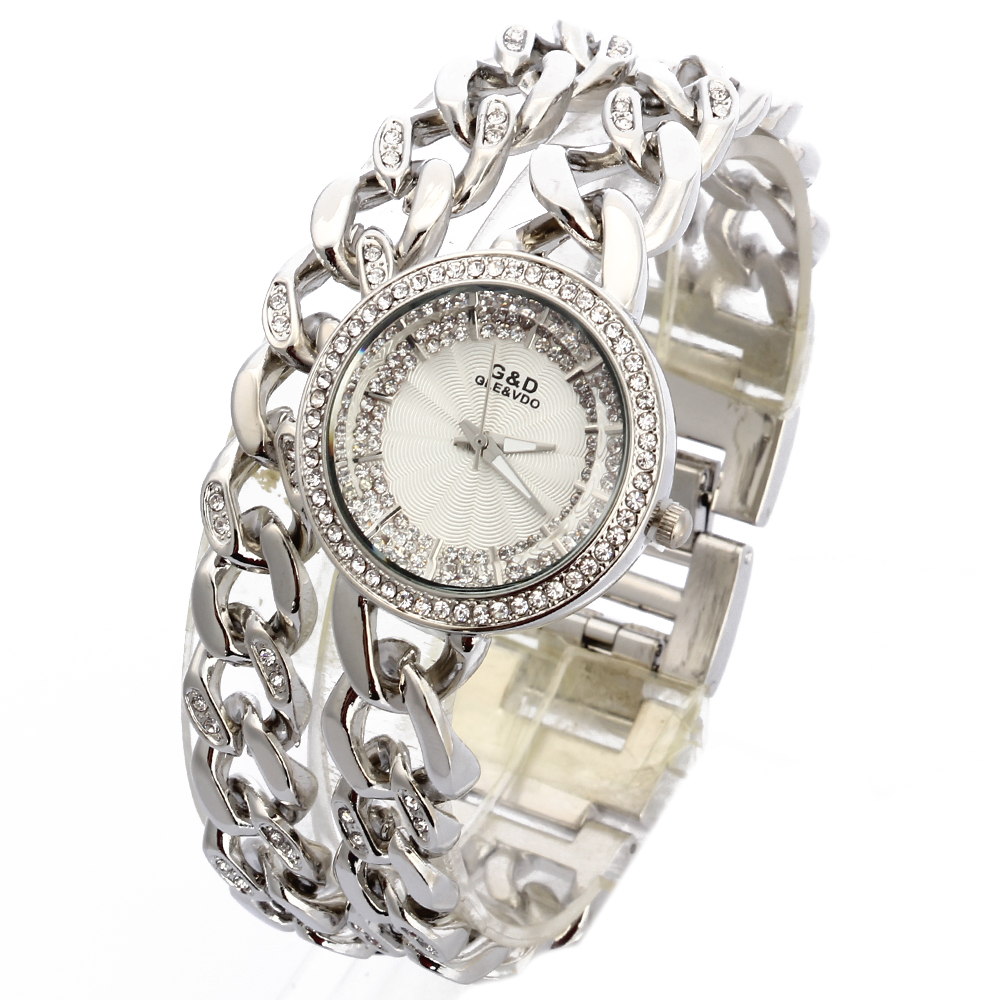 G & D 2018 Luxus Damen Armbanduhr Silber Edelstahl Damen Quarz Armbanduhren Strass Dame Kleid Uhren Geschenke