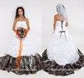 HQ Plus Size Camuflagem Vestidos de Casamento Strapless Pick Up Satin Custom Made Corset Lace Up vestido de Baile Vestidos de Casamento