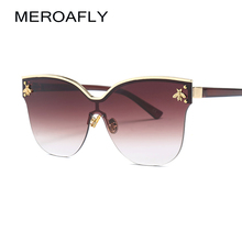 MEROAFLY Semi-rimless Sunglasses Women Cat Eye Sexy Red Gold Brown Oversized Cat Eye Sun glasses Ladies Retro Metal Frame UV400