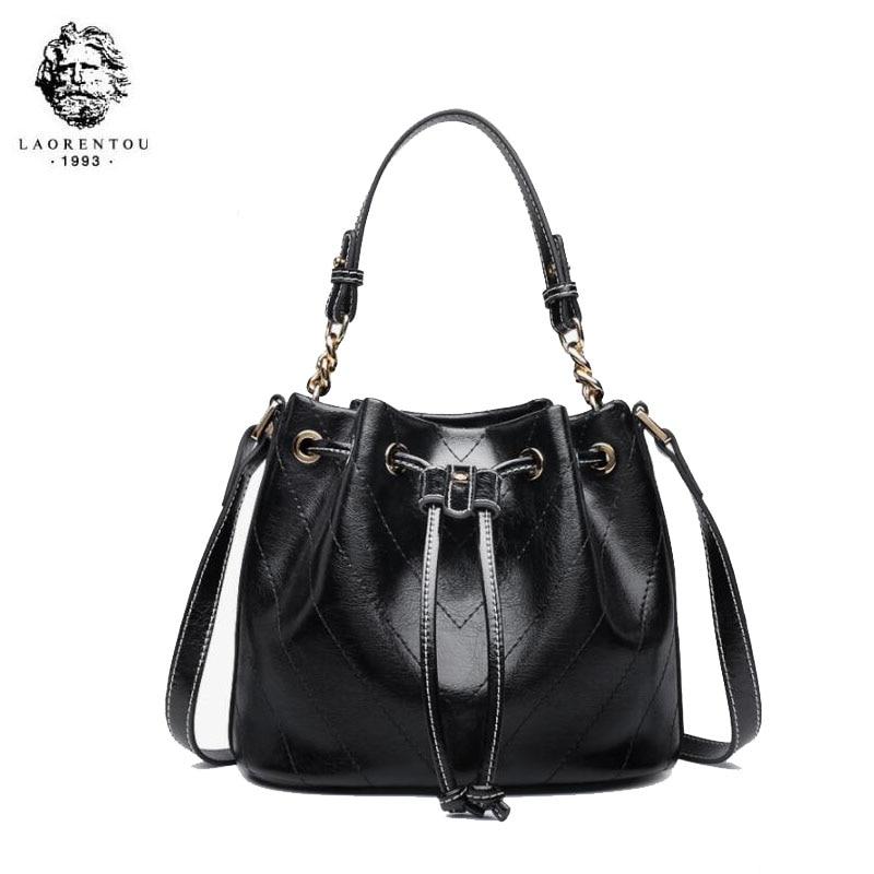 LAORENTOU women leather bag 2020 new wave fashion mini bucket bag female Messenger bag wild shoulder bag 2