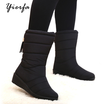 Winter Boots Warm Down Plush Girls Snow Boots Ladies Waterproof Tassel Snow Shoes Warm Female Women Shoes 35-40
