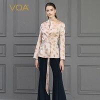 Voa шёлковый жаккардовые пальто осенняя женская верхняя одежда с длинными рукавами элегантная винтажная Женская куртка Rococo листок гинкго Цв