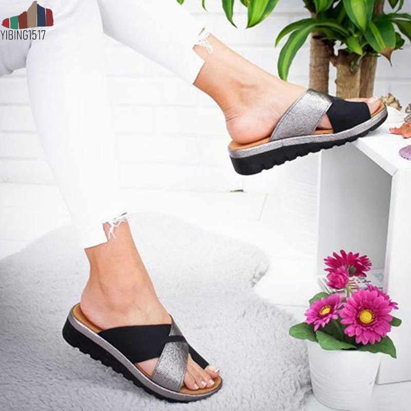 YIBING1517 Vrouwen PU Schoenen Comfy Platform Platte Zool Dames Casual Soft Grote Teen Voet Correctie Sandaal Orthopedische Bunion Corrector