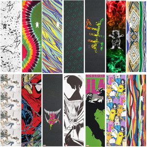 Image 1 - 9*33 zoll Grizzly Läst design Pro Skateboard Griptapes Silicon Hartmetall Skate Grip Band mit Luft Löcher Roller Schleifpapier