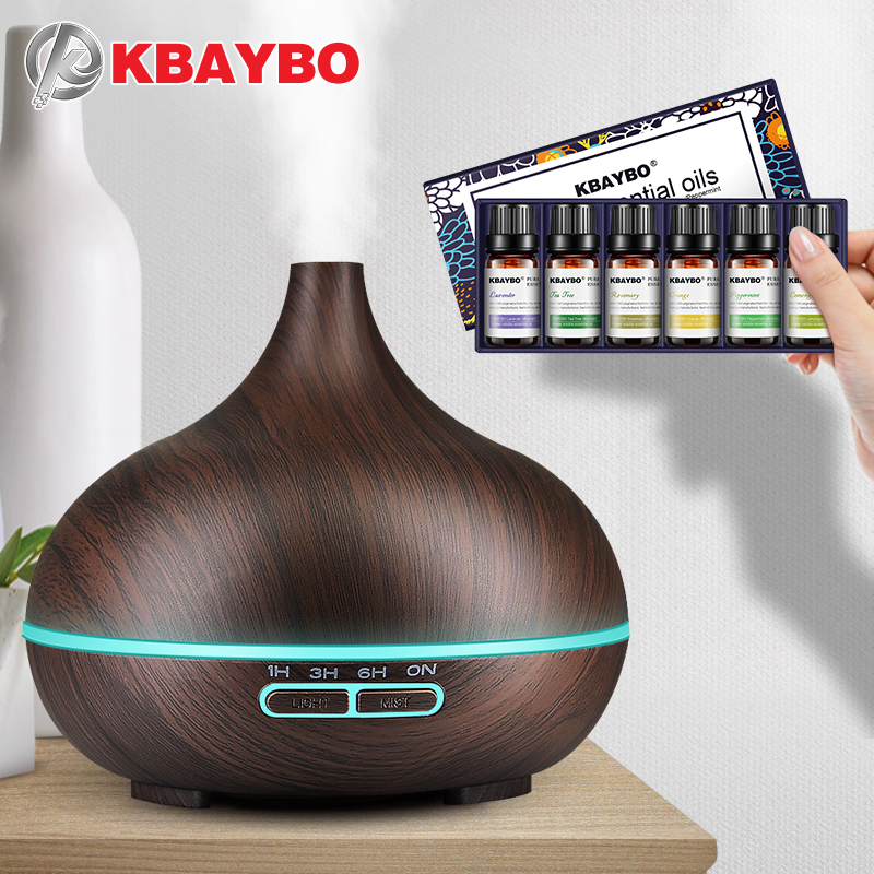300ML Ultrasonic Aromatherapy Humidifier 6 Kinds Essential Oil for Diffuser Mist Maker Aroma Diffuser Fogger LED Light new 300ml woodgrain essential oil aroma diffuser aromatherapy humidifier mist maker purifier 3 models