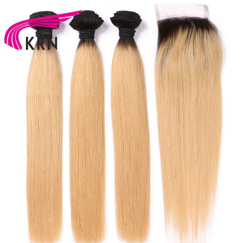 KRN 1B 27 Color Brazilian Human Hair 3 Pieces Bundles With Lace Closure Straight Remy Hair
