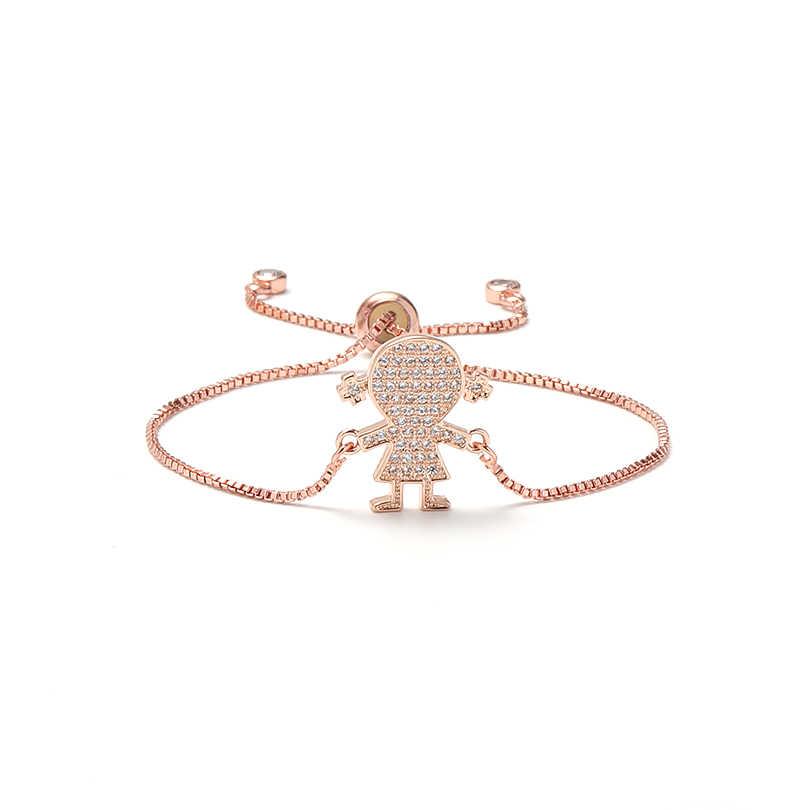 グラム。YCX トレンディキュービックジルコニア少女のブレスレットファムパーソナライズゴールドシルバーのための調節可能なブレスレット誕生日プレゼントのアイデア