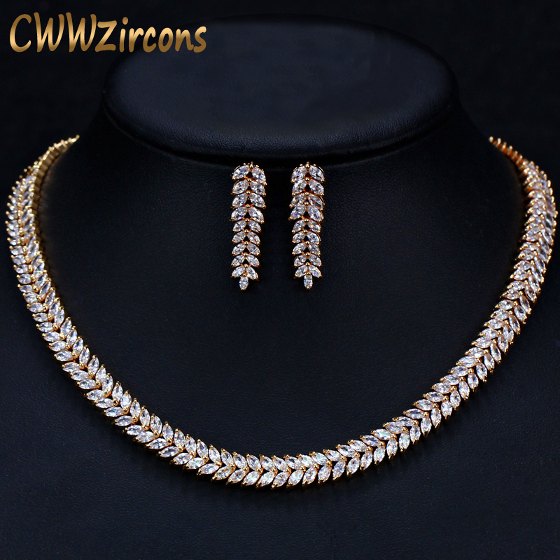 CWWZircons African Cubic Zirconia Pave Saudi Arabia Gold Color Wedding Bridal Necklace Earrings Jewelry Sets For Women T305