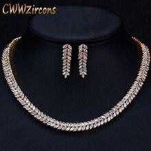 CWWZircons アフリカキュービックジルコニアパヴェサウジアラビアゴールドカラーウェディングブライダルネックレスイヤリングジュエリーセット女性 T305