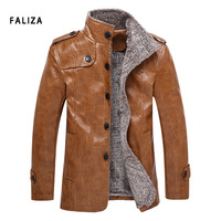 FALIZA Plus Size 8XL Winter Men's Leather Jackets Men Windbreaker Fleece PU Leather Male Jacket Stand Collar Long Coats JK117