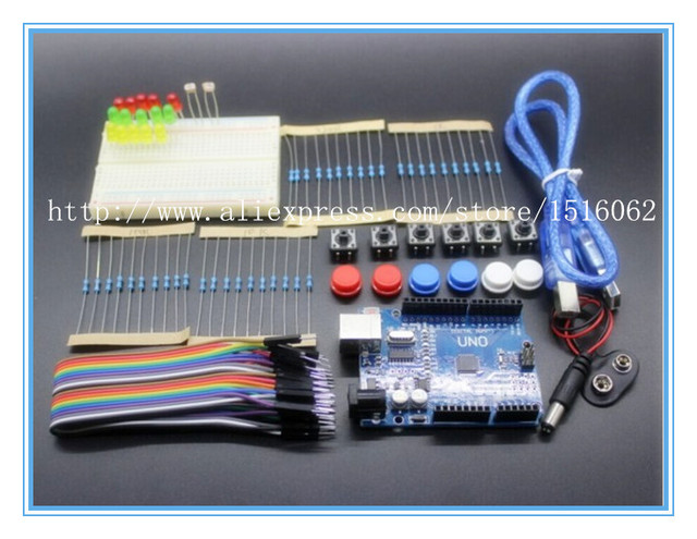 Best prices!!!Free shipping!new Starter Kit UNO R3 mini Breadboard LED jumper wire button for Arduino compatile